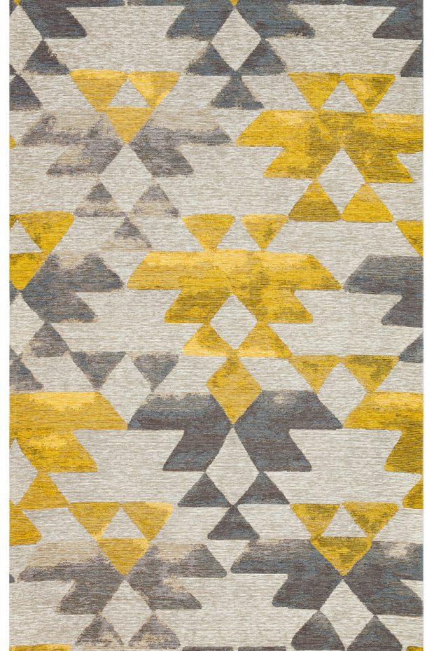 שטיח צהוב אפור משולשים