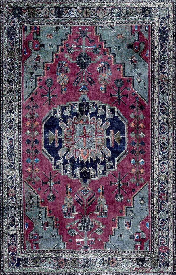 שטיח וינטג' גוון ירוק סגלגל