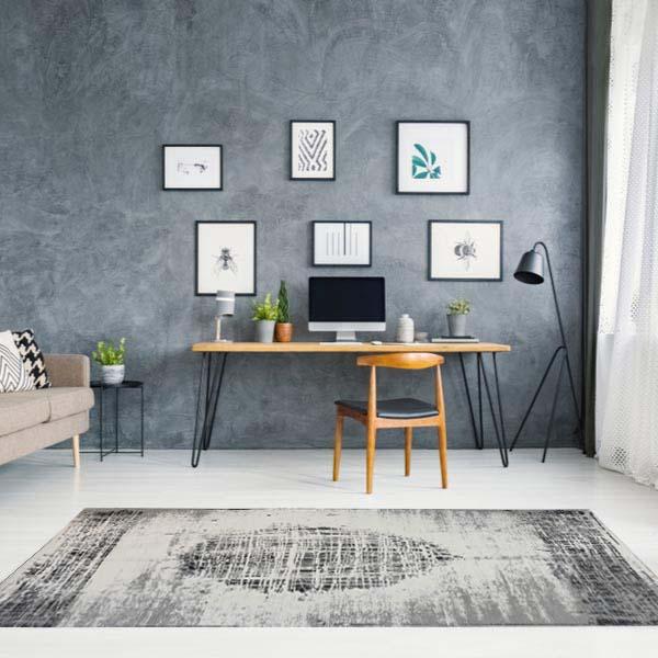 שטיח מודרני שחור לבן