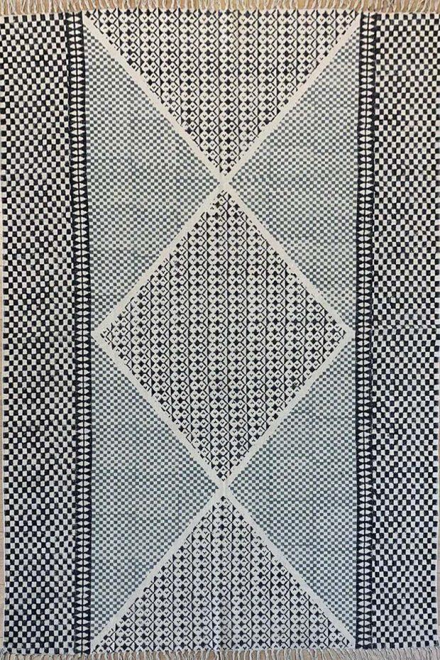 שטיח קילים כותנה מעויינים תכלת שחור