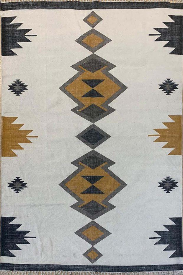 שטיח קילים כותנה אצטקי חרדל