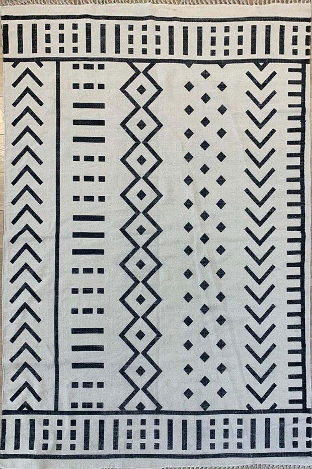 שטיח קילים כותנה פישבון שחור לבן