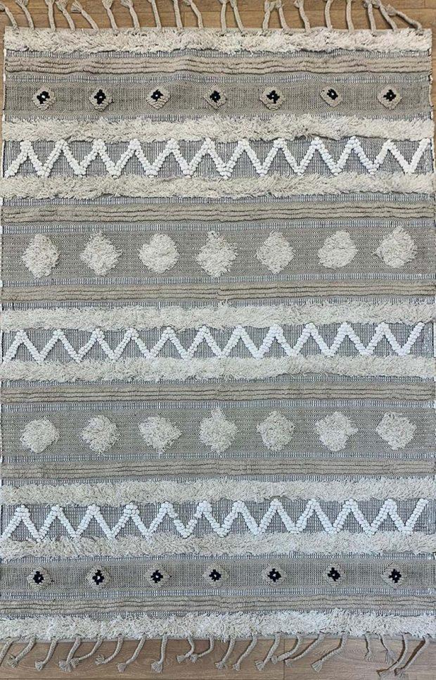 שטיח קילים אריגה משולבת גוון טבעי שחור לבן