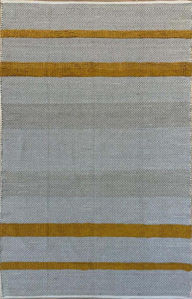 שטיח כותנה אריגה משולבת חרדל אפור