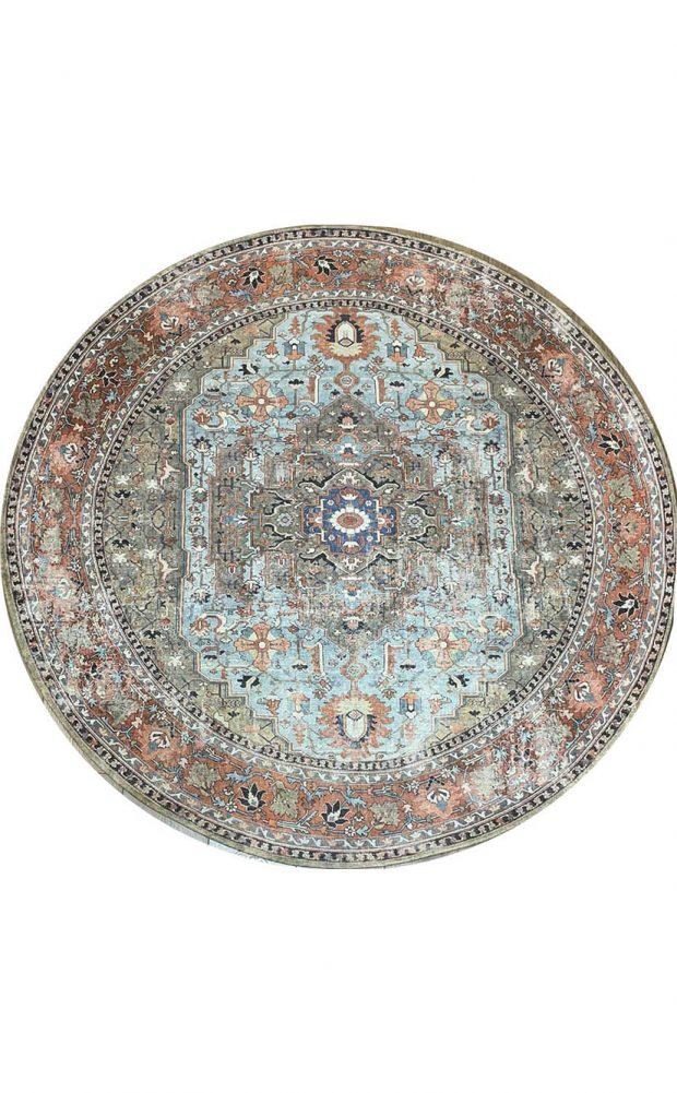 שטיח עגול וינטג' תכלת