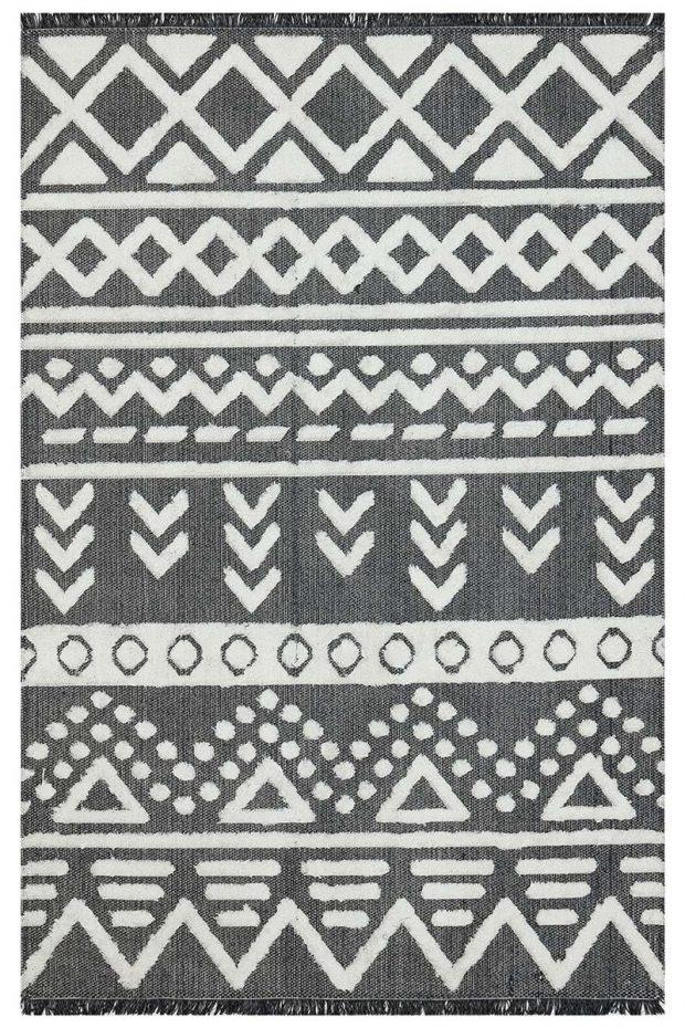 שטיח מרוקאי שחור לבן