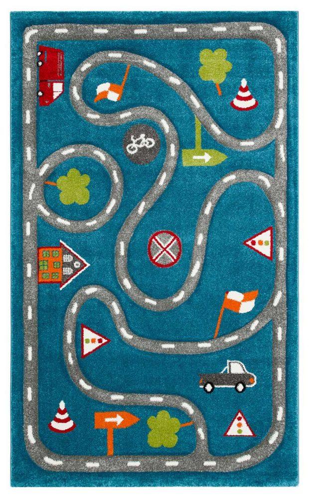 שטיח ילדים כבישים כחול