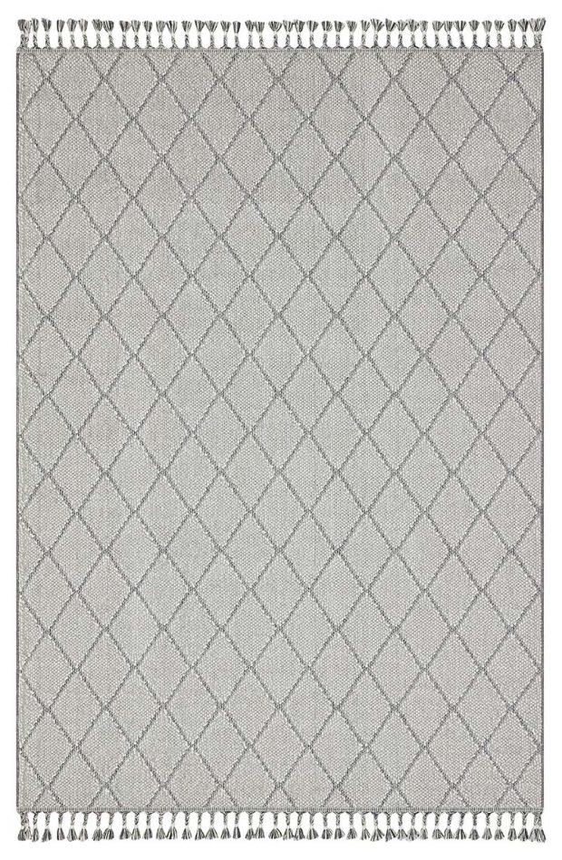 שטיח דמוי חבל מעויינים אפור