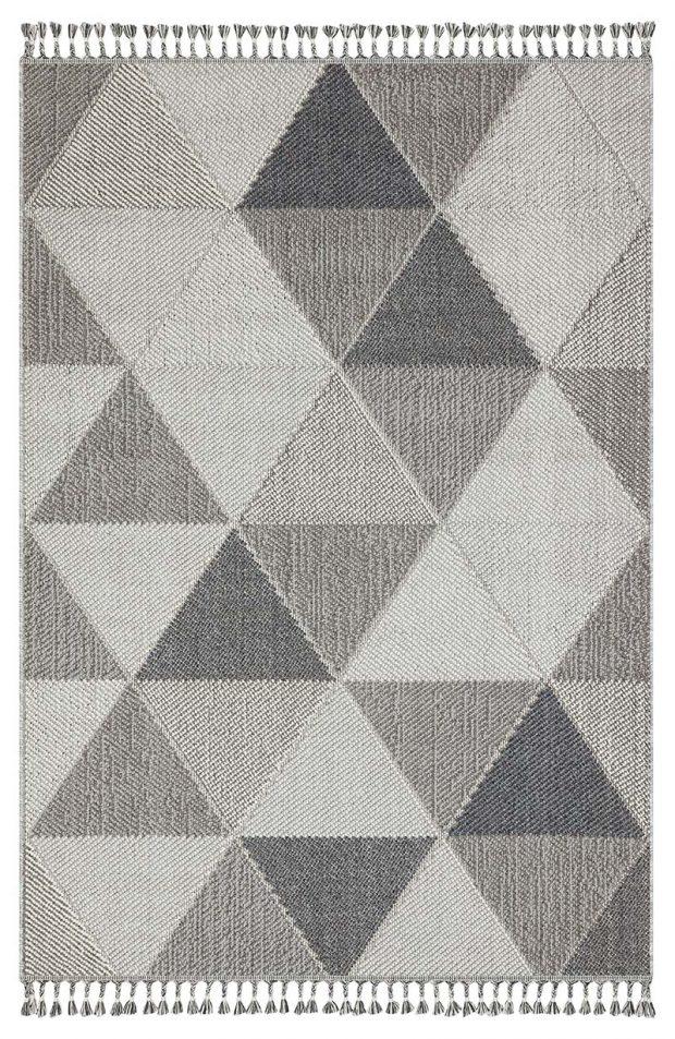 שטיח דמוי חבל משולשים אפור