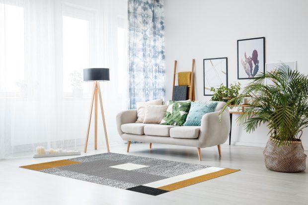 שטיח קוביות חרדל שחור